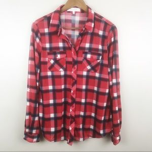 EDEN & OLIVIA Anthropologie Red Plaid Shirt Medium
